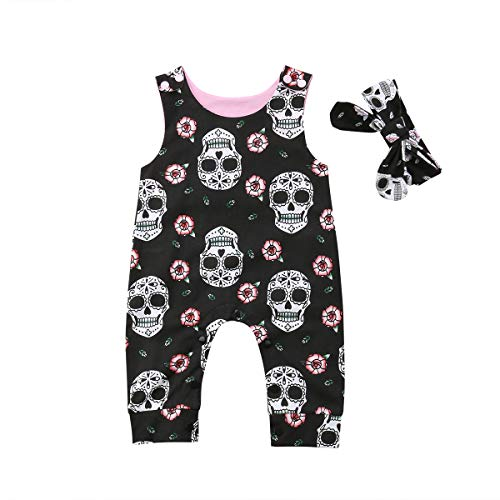 Newborn Infant Baby Girl/Boy Halloween Clothes Skull Floral Romper Jumpsuit Sleeveless Bodysuit Headband Outfit (9-12M, Black) -