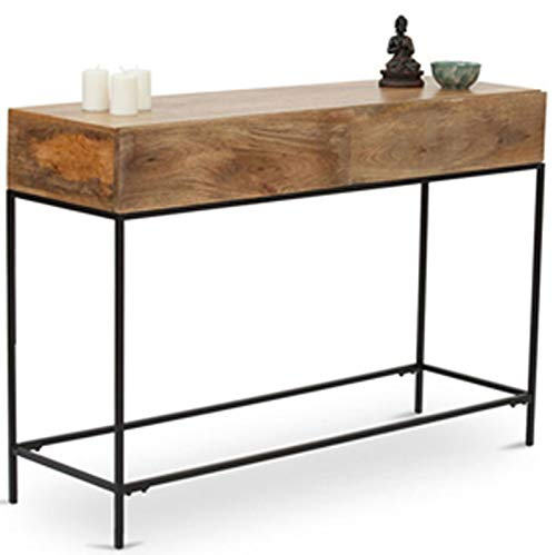 The Urban Port 39270 Industrial Style Console Table with Two Drawers, Natural Wood