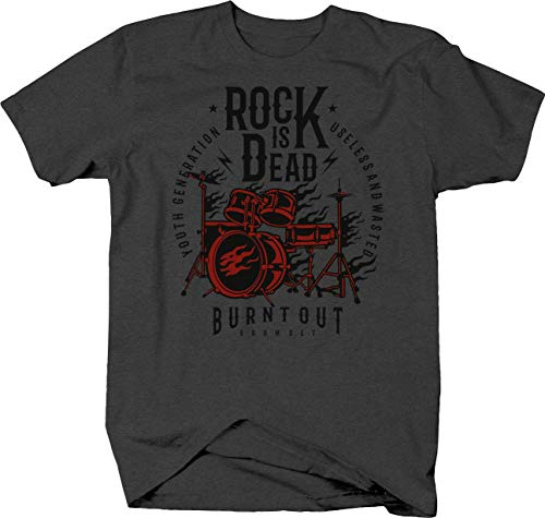 Burnout Youth Generation with Flaming Drum Set Rock is Dead Tshirt 6XL - Drums Flaming