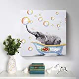 Bathroom Wall Art 100% Hand-Painted Cute Elephant Oil Painting Colorful Animal Canvas Artwork Framed Creative Picture Modern Home Living Room Bedroom Kids Room Decoration Ready to Hang