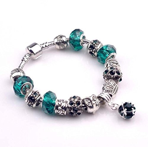The Starry Night Geometric Round Pendant Silver Owal Pattern Vintage Crystal Accented Beads Bracelet
