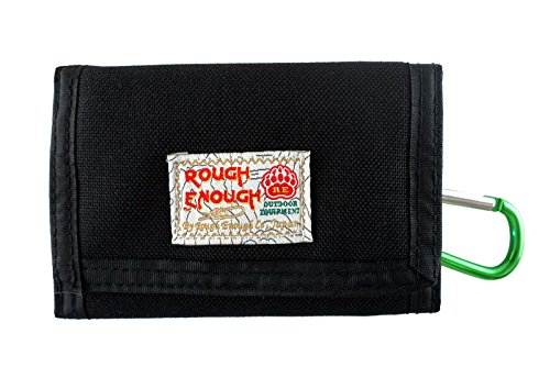 Rough Enough Multi-Function Vintage Sports Outdoors Classic Basics Cordura Slim Small Mini Trifold Portable Wallet Coin Purse Credit Card Holder Cash Bag Organizer with Zipper Pocket for Kids Boy Men