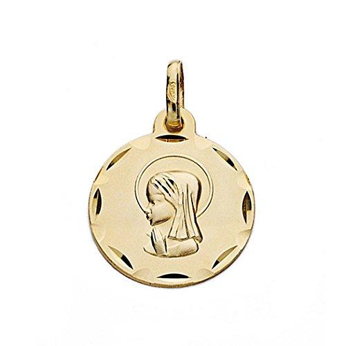 Médaille pendentif Nina Virgin de l'or 16mm 18k. biseauté rond [9097GR] - personnalisable - ENREGISTREMENT inclus dans le prix