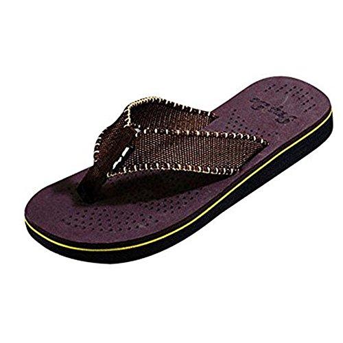 Baomabao Män Sommar Rand Skor Sandals Toffel Flip Flops Brun