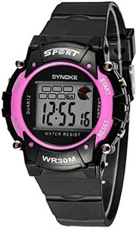 Kid's Waterproof Unisex Electronic Outdoor Wrist Sport Young Adults Boys Girls Teen Watch Pink