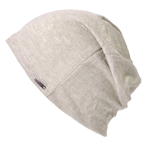 Linen Mens Summer Beanie - Slouchy Lightweight Knit Hat Cap Made in Japan by Casualbox Biege