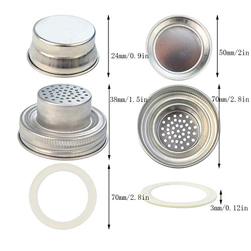 obmwang 4 Pack of Stainless Steel Mason Jar Shaker Lids Caps for Cocktail,Dredge Flour,Mix Spices,Sugar, Salt, Peppers and More or Shake Drinks Cocktail-Fits Any Regular Mouth Mason Jar Canning Jar by obmwang (Image #3)