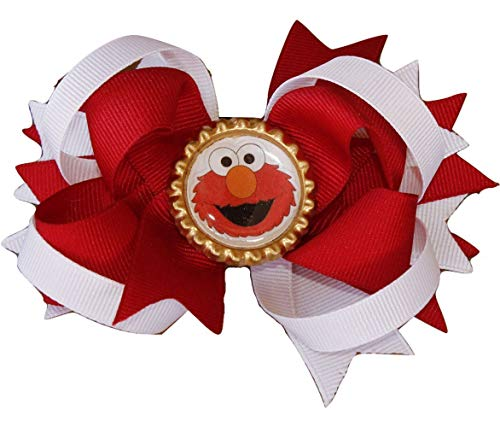 Elmo hair bow Sesame Street hair bow, kids hair bow girls hair bow, Birthday hairbow, Muppets hair bow, Elmo hairbow]()