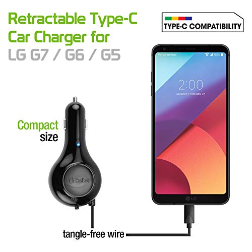 ) Fast Charging, USB Type-C Retractable Car Vehicle Charger Compatible for LG V40, Q7+, Stylo 4, Q Stylus V35 ThingQ, V30, G6, G5, Nexus 5X, Q7+, V20 and Other Type-C ()
