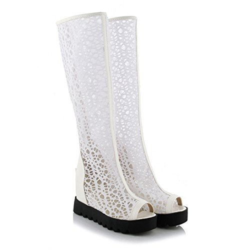 QXH La Mujer de Cabeza Redonda Sandalias Botas de Tacón Media Cremallera Inferior Grueso White