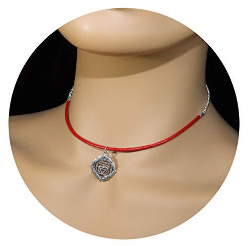 1st Chakra Necklace - Red Choker Necklace - Root Chakra - Muladhara Pendant