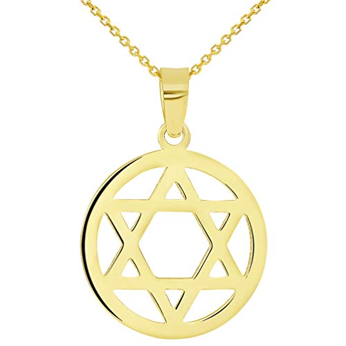 (14k Yellow Gold Shield of David Round Jewish Star Pendant Necklace, 18