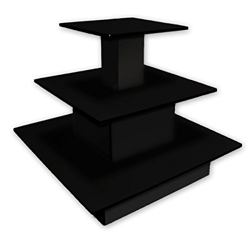 3 Tier Table Square Boutique Clothing Footwear Retail Display Wood Fixture Black New by Bentley's Display