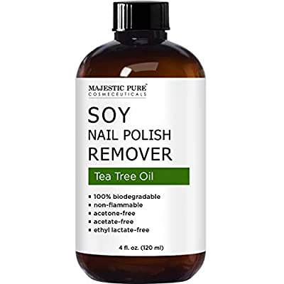 MAJESTIC PURE Soy Nail Polish Remover - Natural Acetone Free for Fingernail - Infused with Tea Tree Oil - Safe, Healthy, Gentle, Strengthening and Non Toxic - 4 fl oz