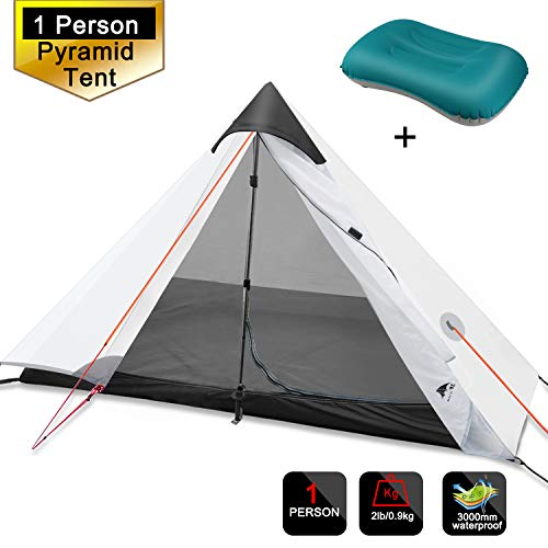 3F Gear 1 Person Tent Backpacking, Lightweight Single Tent Waterproof Double Layer Pyramid Tent Mountaineering Hiking Camping 1 Pack Raincoat (White/Yellow)