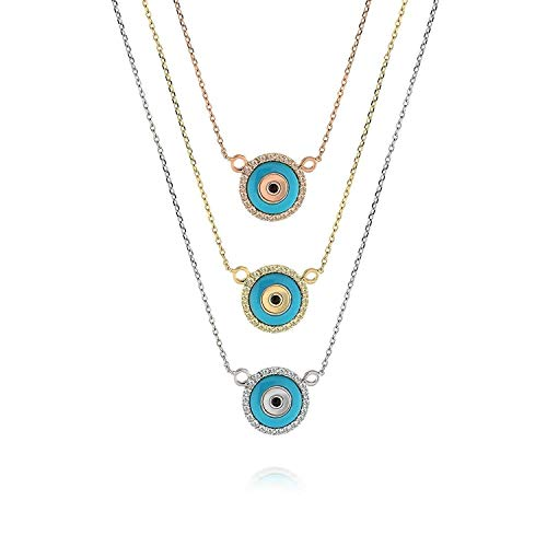 TousiAttar Evil Eye Necklace - Nice Diamond Pendant - 14K Real Solid Rose White Yellow Gold For Her- Necklaces for - Necklace Si2 White Gold