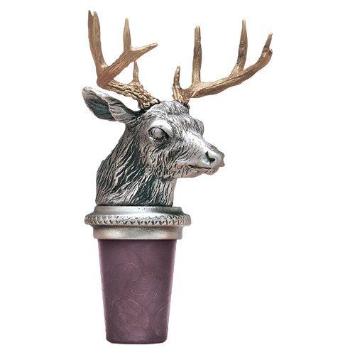 Whitetail Deer w/ Brass Antlers Pewter Bottle Stopper by Heritage Pewter by Heritage Pewter