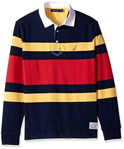 Nautica Men's Striped Heavy Weight Jersey Long Sleeve Polo Shirt, Navy, X-Large
