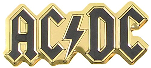 AC/DC Logo 6cm Gold Artwork Emblem, Medium Die-Cut, 2.5' x 1' - Embossed METAL STICKER Decal 2.5 x 1 - Embossed METAL STICKER Decal Officially Licensed & Trademarked Products S-7620-M