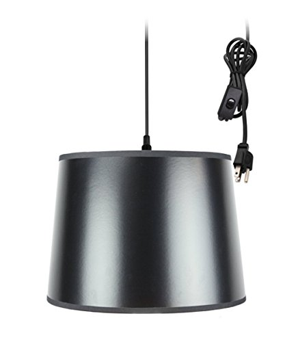 Plug-In Pendant Light By Home Concept - Hanging Swag Lamp Black Parchment shade with Gold-liner Shade - Perfect for apartments, dorms, no wiring needed (Black, Black - Brass Black Parchment Base Shade