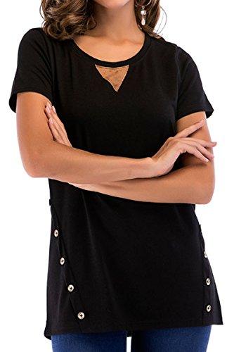 Laucote Women Casual Crewneck Loose T Shirt Short Sleeve Solod Color Blouses Black XL - Iron Works T-shirt