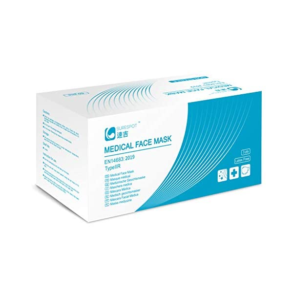 SureSpot Type IIR Surgical Face Mask - 3 Ply EN14683:2019 Compliant