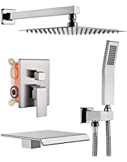 SUNZOE Shower System Brushed Nickel Shower Faucet Set with Waterfall Tub Spout All Metal Luxury Wall Mounted 10 Inch Rain Mixer Shower Faucet Set, Contain Shower Faucet Rough-in Valve Body and Trim Kit
