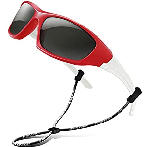 RIVBOS Rubber Kids Polarized Sunglasses With Strap Glasses for Boys Girls Baby and Children Age 3-10 RBK003 (Red)