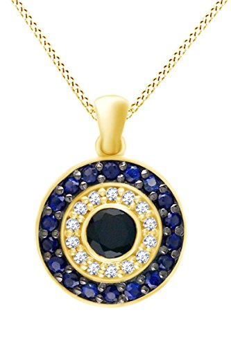 AFFY Evil Eye Multi Stone Pendant Necklace in 14k Solid Yellow Gold (0.66 cttw) ()