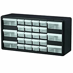 Akro-mils 10126 26 Drawer Plastic Parts Storage Hardware & Craft Cabinet, 20-inch By 10-14-inch By 6-38-inch, Black