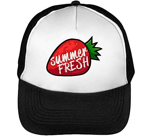 Summer Fresh Strawberry Dope Gorras Hombre Snapback Beisbol Negro Blanco