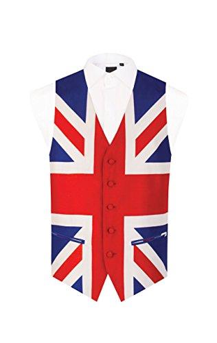(Dobell Mens Union Jack Vest Regular Fit 5 Button Waistcoat-L)