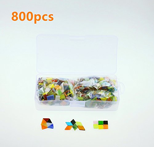 Texong 800 Pieces Three Shapes Mixed Color Mosaic Tiles Mosaic Glass Pieces with Organizing Container for Home Decoration or DIY Crafts, Square,Triangle, rhombus, Aunifun