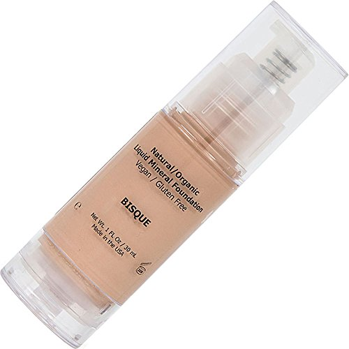 Fair Liquid Foundation Mineral Makeup - All Natural, Organic, Vegan, Cruelty/Gluten Free, Hypoallergenic, Without Chemicals For Normal/Dry/Sensitive/Acne/Rosacea/Oily/Teen/Mature Skin - Bisque
