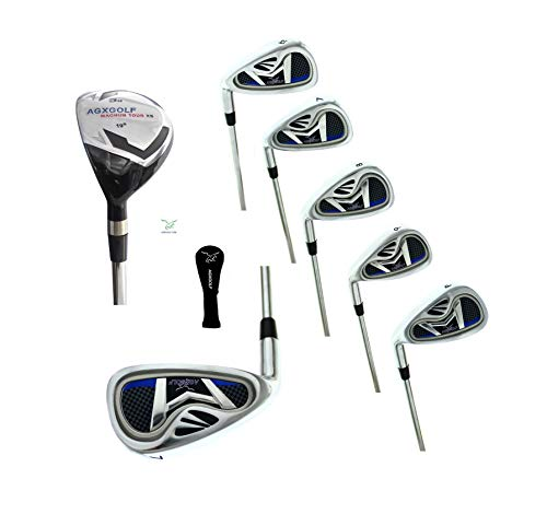 AGXGOLF Ladies Magnum NXT Left Hand Petite Length Ladies Flex Irons Set w/Hybrid Utility Long Iron +5,6,7,8 & 9 + PW: Petite Regular Built in USA!