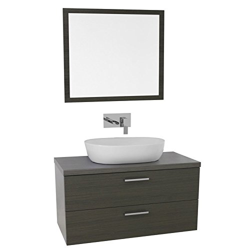 "Iotti Iotti AN768 Aurora Double Vessel Sink Bathroom Vanity Wall Mounted with Mirror Included, 38"", Grey Oak hot sale"