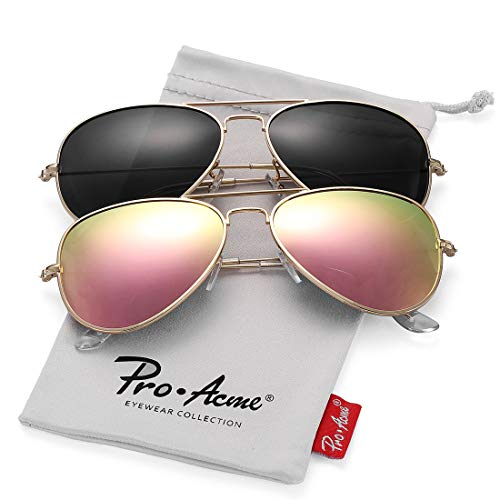 (Pro Acme Classic Polarized Aviator Sunglasses for Men and Women UV400 Protection (2 Pairs) Gold Frame/Black Lens + Gold Frame/Pink Mirrored Lens)