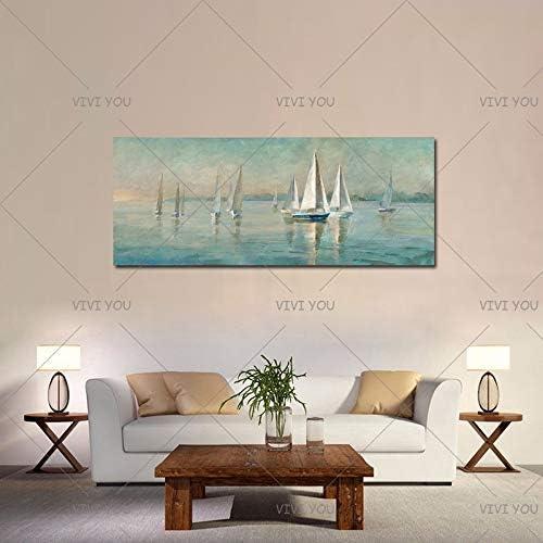 Lorenory Modern Home Decor Muurkunst Afbeelding Hand Geschilderde Zeilboot Olieverfschilderij Op Doek Handgemaakte Acryl Abstract Landschap