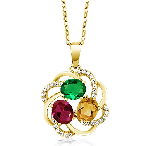 Gem Stone King Build Your Own Pendant - Personalized 3 Birthstone Flower Blossom Pendant in Yellow Plated 925 Sterling Silver