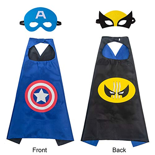 AMASKY Superhero Dress Up Costume Set, Double-Sided Satin Capes with Felt Masks for Kids