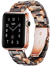 Light Apple Watch Band - Fashion Resin iWatch Band Bracelet Compatible with Stainless Steel Buckle for Apple Watch Series 6 Series SE Series 5 Series 4 Series 3 Series 2 1