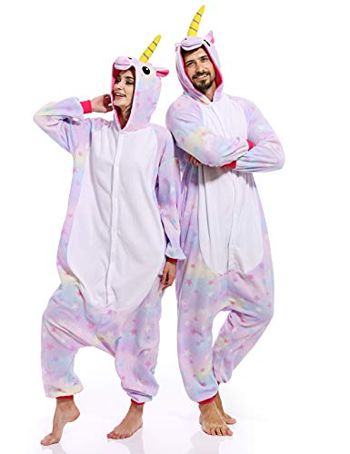 Adult Unicorn Onesies for Women Aniaml Pajamas Plus One Piece Cosplay Halloween Costume for Women Men ()