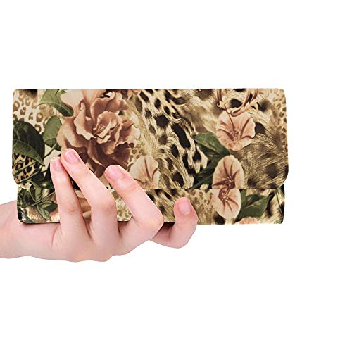 e Striped Leopard And Rose Flower Women Trifold Wallet Long Purse Credit Card Holder Case Handbag ()