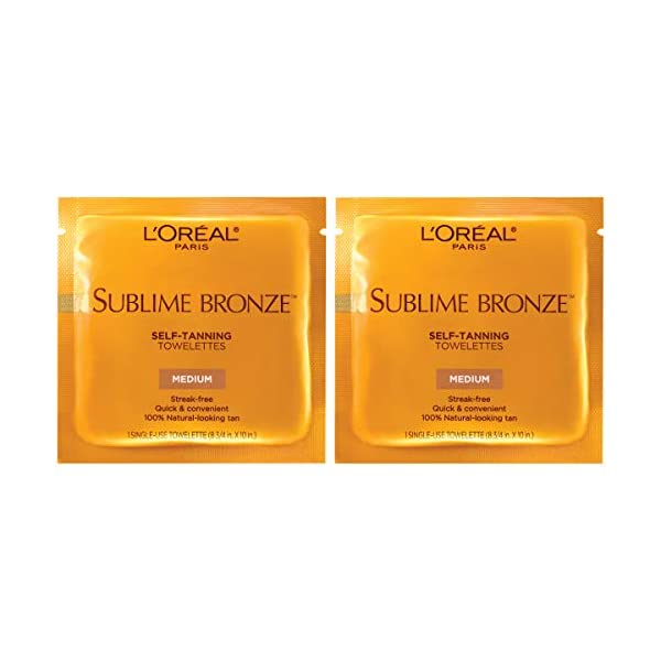 L'Oreal Paris Skincare Sublime Bronze Sunless Tanning Towelettes, Fast-Drying, Streak-Free Self-Tanner, Suitable for all…