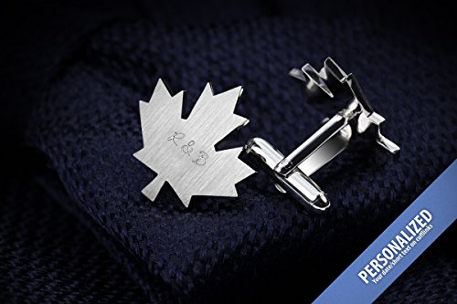 Engraved Cufflinks wedding - Groom gift from bride - Maple Leaf Cufflinks personalized in sterling silver, Canada Day gift by FEINFEIN