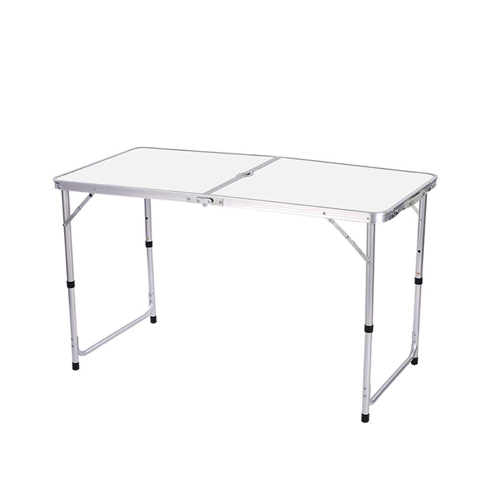 White Folding Table Rectangular Aluminum Alloy, Folding Half Table, Light Carrying Belt, Non-Slip, 50Kg Load Capacity, 3 colors (color   Green)