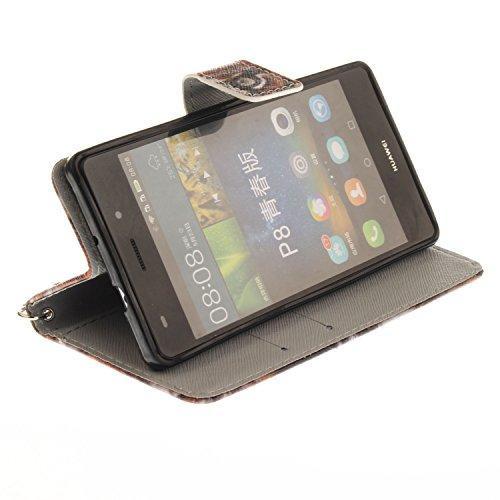 Funda Huawei P8 lite,SainCat Funda de cuero sintético tipo billetera con correa de cordón de Suave PU Carcasa Con Tapa y Cartera,Ranuras para Tarjetas y Billetera Funda de Flip Ranuras Tarjeta Slots F Tigre del noreste