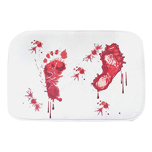 Bath Mats, Non-Slip Blood Footprint Bath Mat Door Mat Scary Horror Style Halloween Decoration (B) ()