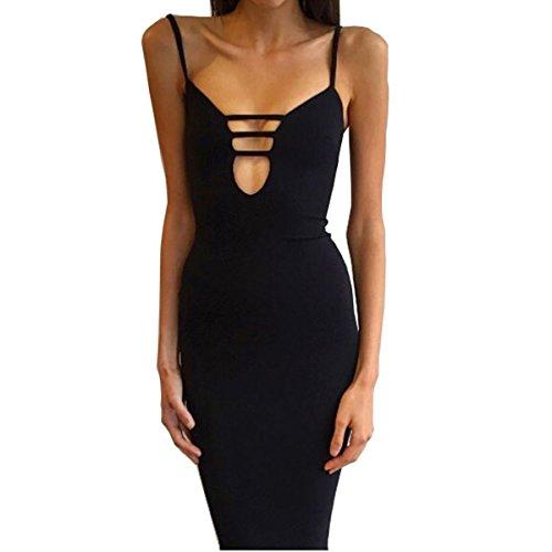 Esanech 5118 Womens Sexy Long Sleeve Cut-Out Bandage Bodycon Clubwear Midi Dress (Balck)