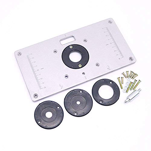 - Aluminum Router Table Insert Plate with 4 Insert Rings for Woodworking Benches